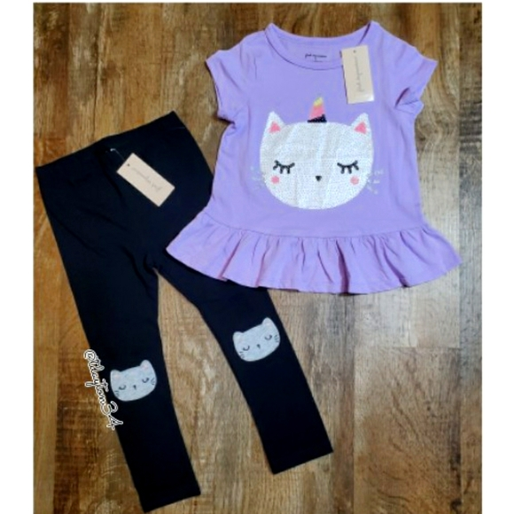 NWT Girls 2T Star Kitty Cat 2 Piece Top and Pant Set NEW